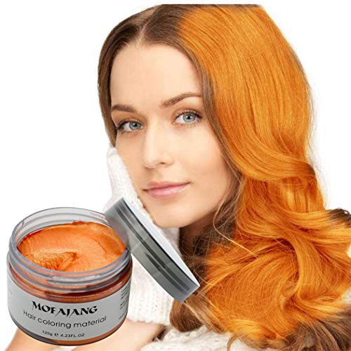 MOFAJANG Hair Color Wax Styling Cream Mud, Temporary Hair Dye Wax, Natural Hairstyle Dye Pomade for Party Cosplay, Halloween, 4.23 OZ, Orange]()
