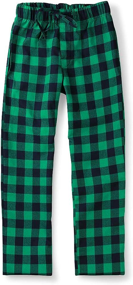 Aeslech Mens Cotton Woven Pyjama Lounge Pant Plaid Soft Sleepwear