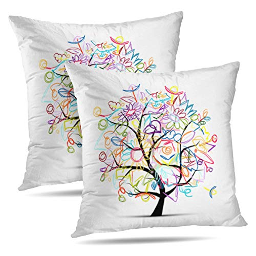 HAPPYOME Set of 2 Decorative Throw Pillow Covers Floral Tree Colorful Life Pencil Art Beauty Birthday Bloom BouquetPillow Case Cushion Cover for Bedroom Livingroom Sofa 18X18 Inches