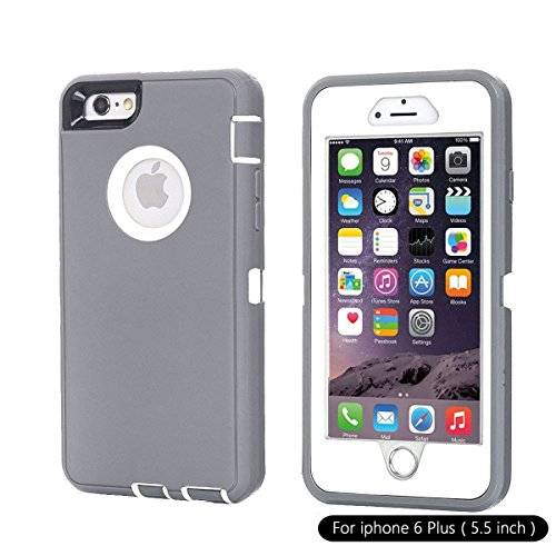 Ai-case Built-in Screen Protector Tough 4 in1 Rugged Shorkproof Cover With Kickstand for iPhone 6/6S Plus, Grey/White(Without Kickstand)
