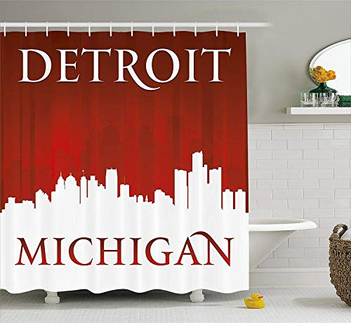 PAUSEBOLL Detroit Michigan City Silhouette Red White Composition Classical Typography Red White Shower Curtain Bathroom Hooks,Mildew Resistant Waterproof Polyester Curtain