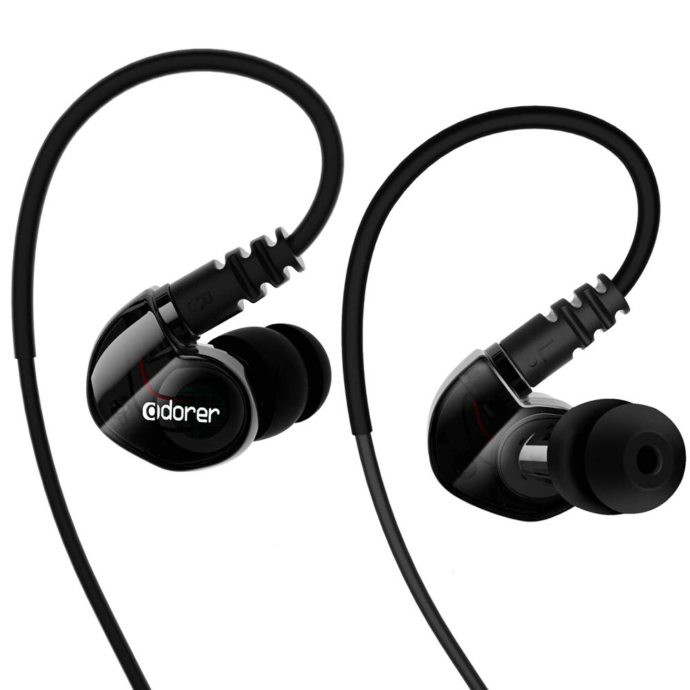 Adorer Sport Kopfhörer, RX6 Wired Sound Isolating In Ear Ohrhörer mit Mikrofonfür iPhone, iPad, Samsung, Android, Huawei usw 3.5mm Klinkenstecke - Schwarz