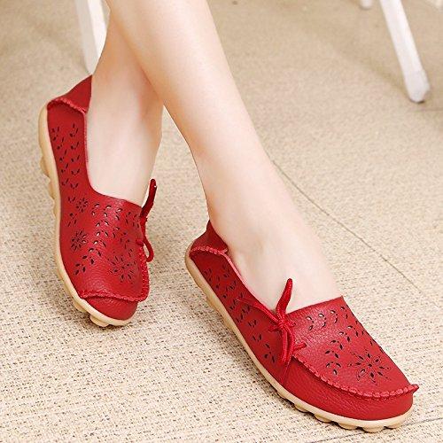 Vrouw Lente Herfst Comfortabele Slip-on Beanie Flats Rijden Zapatos Schoenen Rood