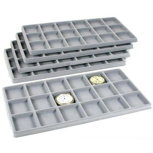 FindingKing 5 Gray 18 Slot Coin Jewelry Showcase Display Tray Inserts