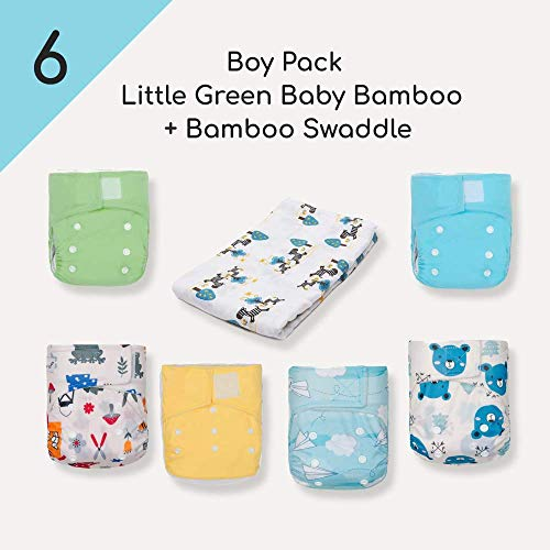 KaWaii Baby Newborn Little Green Baby Bamboo Cloth Diapers, 6-Diapers+12 Bamboo Inserts w/ 1 Free Bamboo Swaddle Blanket (Boy)