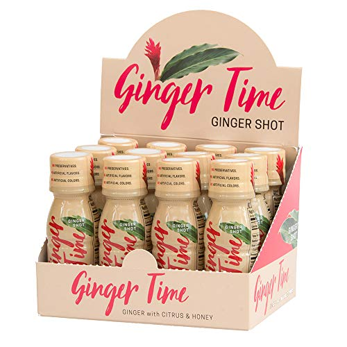 Ginger Time Ginger Shots 12 Pack – Ginger with Citrus Honey No Preservatives No Artificial Flavors, No Artificial Sweeteners, and No Artificial Colors Non-GMO B Vitamins Wellness Shots