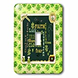 3dRose Beverly Turner St Patrick Day Design - Words, Faith, Luck, Blessed, Leaf, Irish, Shamrock, Saint Patrick - Light Switch Covers - single toggle switch (lsp_282043_1)