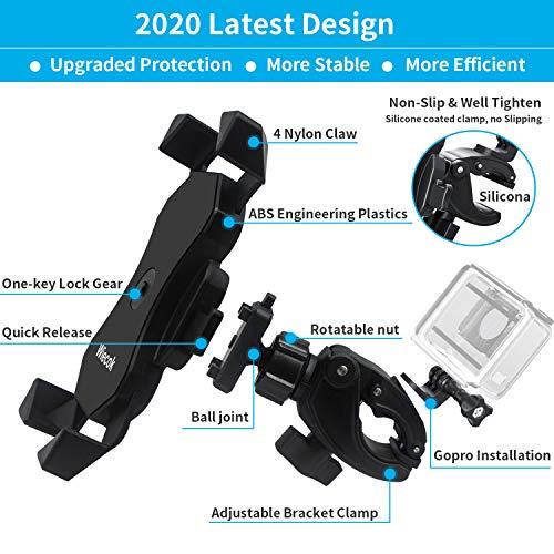 Wiecok Soporte Movil Bicicleta [2020 Diseño Dos Soporte Universal Manillar Motocicleta con Rotación 360°, para 4.0\