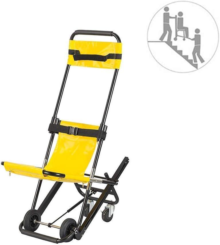 Silla de Escalera - JXSD Ambulance Firefighter Evacuación Medical Lift Silla de Escalera - Ayuda Ligera de Movilidad médica de Aluminio con 4 Ruedas y Dos Cinturones de Seguridad
