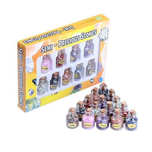 Banshren 9pcs Nature Mini Gemstone Bottles Mini Tumbled Stone Gemstone Mine Chip Sz Crystal Healing Tumbled Gem Stones Reiki Wicca Set