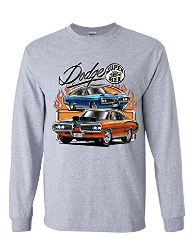 (Dodge Super Bee Long Sleeve T-Shirt American Classic Muscle Car Tee Gray XL )
