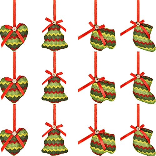 - Jovitec 12 Pieces Christmas Tree Ornaments Fabric Hanging Decoration Christmas Stocking Glove Tree Heart Shapes for Home Office Mall Christmas Party Decor, 4 Designs