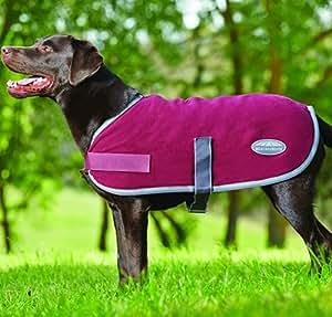 """Weatherbeeta Fleece Dog Coat - 12"""" - Burgundy/grey 2 Tone"""