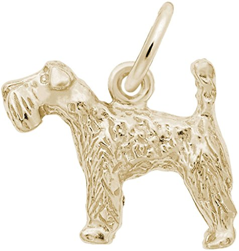 Kerry Terrier Dog Charm Blue (Rembrandt Kerry Blue Terrier Dog Charm - Metal - 14K Yellow Gold)