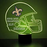 Mirror Magic Store New Orleans Saints Football Helmet LED Night Light with Free Personalization - Night Lamp - Table Lamp - Featuring Licensed Decal