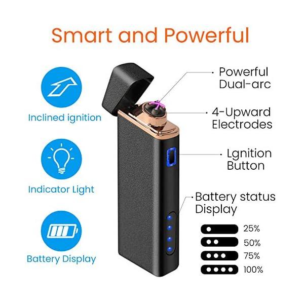 Ommani Encendedor Electrico, USB Encendedor de Doble Arco Recargable con Indicación de Batería, ARC Encendedor… 2