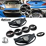 Complete Set 7PC 3D Emblems With Double-side Tape On The Back Emblem Badge (Front Grille, Rear Trunk, Steering Wheel and Four Rims.) For 2010-2016 Hyundai GENESIS COUPE Color Black by Kaizen