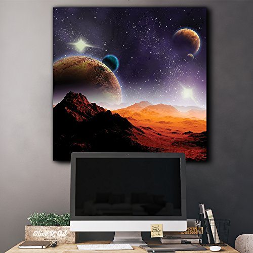 Rocky Mountains with View to Various Planets