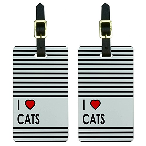 ve Heart Cats Luggage Tags Suitcase Carry-on Id, White (Heart Design Luggage Tags)