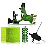 ATOMUS Rotary Tattoo Machine Gun Kit Professional Liner Shader Tattoo Motor Machine with Grip Tube Wrench Elastic Bandage Beginners Tattoo kit Tattoo Supplies (Green)