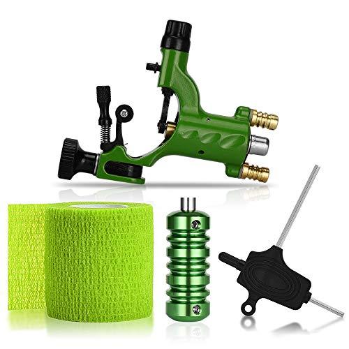 (ATOMUS Rotary Tattoo Machine Gun Kit Professional Liner Shader Tattoo Motor Machine with Grip Tube Wrench Elastic Bandage Beginners Tattoo kit Tattoo Supplies (Green))