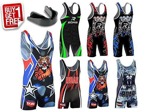 Roar American Tiger Wrestling Singlet Stretch Bodysuit Sports Wear (Amarican Tiger, Small)