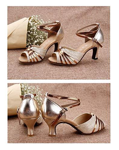 Shoes Square Shoes Sandals WXMDDN Shoes Bottom Heeled Adult Golden Soft Low Dance Dance Shoes Summer Dance Latin Square Dance Female Female qqf4g