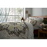 Verona Luxury Madelina Brown 4 Pcs Queen Size %100 Cotton Duvet Cover Set Bedding Linens French Country