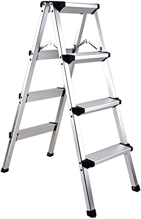 Escalera plegable Aleación de aluminio Venta al por mayor Multifunción Luz de seguridad plegable antideslizante, escalera de 2, 3, 4, 5 peldaños de doble uso (Color: Blanco, Tamaño: A-37x38x50cm): Amazon.es: Hogar