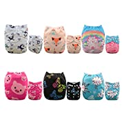 ALVABABY 6 Pack with 12 Inserts Baby diaper, Pocket Cloth Diapers Reusable Washable Adjustable for Baby Boys and Girls 6DM35