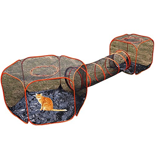 3 in 1 Compound Pet Play House - 2 Tents & 1 Tunnel,Pop U...