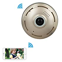 Mbangde 360° Fisheye Panoramic IP Camera, Wireless Wifi Security Camera Super Wide Angle Support IR Night Motion Detection Keep Your Pet & Home Safe, Gold