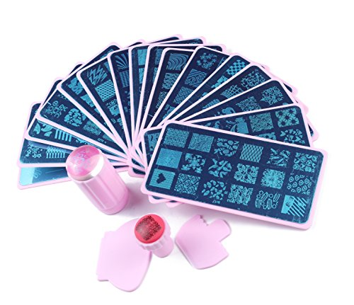 Beauty Leader Nail Art Stamping Plate 16 Pcs Different Design with Pink Plate Holder + 1 Pcs Pink Rubber Nail Art Stamper + 1 Pcs Jelly Clear Nail Art Stamper Manicure Template Nail Art Tools
