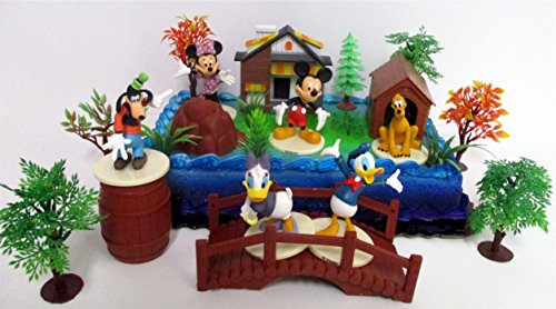 Mickey Mouse Clubhouse Birthday Cake Topper Featuring Mickey Mouse, Minnie Mouse, Donald Duck, Daisy Duck, Goofy, Pluto, and Other Themed Decorative Cake Pieces]()