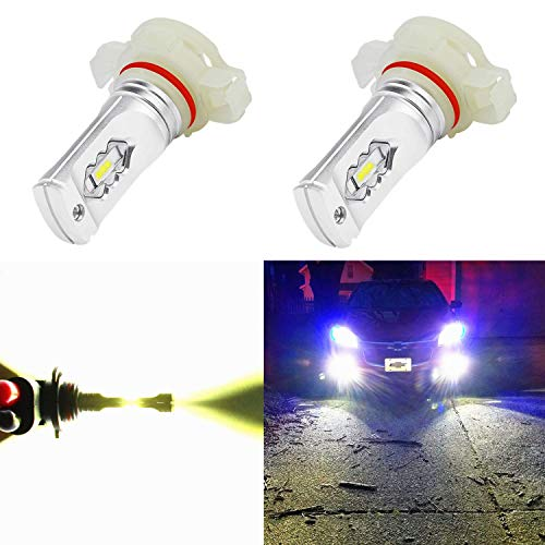 Alla Lighting 5202 LED Fog Light Bulbs 3800lm Xtreme Super Bright 5201 5202 LED Bulbs Fog Light ETI 56-SMD LED 5202 Bulb 5201 PS19W 12085 5202 LED Fog Lights Lamp Replacement - 6000K Xenon White