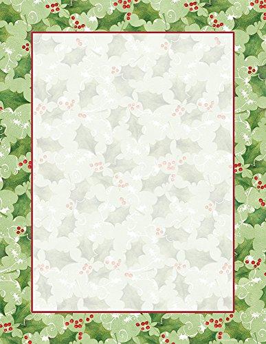 Jolly Holly Stationery - 80 Sheets - Christmas Holiday Stationary