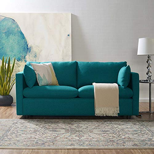 Modway Activate Contemporary Modern Fabric Upholstered Apartment Sofa Couch In Teal