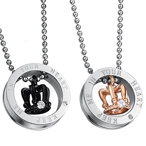 - Oidea 2pcs Couples Stainless Steel Keep Me in Your Heart CZ Crown Necklace for Valentines Day Gifts