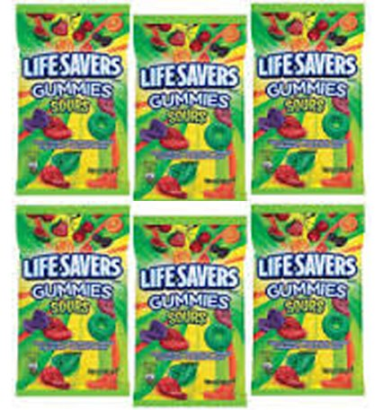 Life Savers, Gummies, Sours, 7oz Bag (Pack of 6)