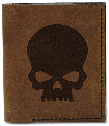 Handmade Leather b Genuine Skulls 3 Style Natural Rock Style MHLT 04 Rock Wallet Men's Skull 6wqtXYS