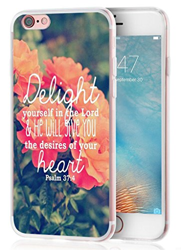Iphone 6 plus case bible verse, Apple Iphone 6S plus case christian quotes bible verses psalm 37:4