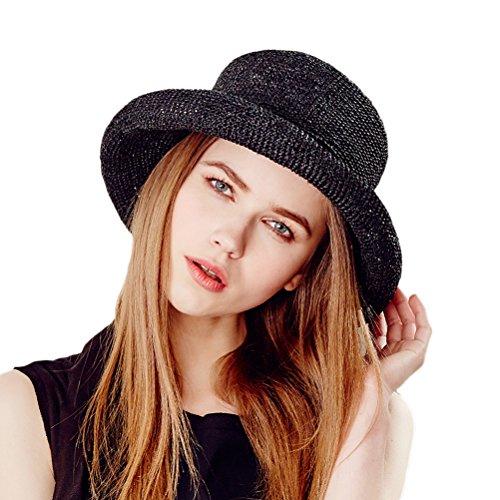 RIONA Women's Summer Hand-Woven Foldable Wide Brim Fisherman 100% Raffia Straw Sun Hat (Black)