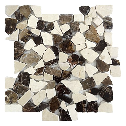 Nanjing In-Art Co Interlocking Pebble Floor Tiles (5-Pack) Kitchen, Bathroom, and Patio Flooring | Indoor and Outdoor Use | Mocha Marble Mosaic | Quick and Easy Grout Installation (Mosaic Pebble Patio Designs)
