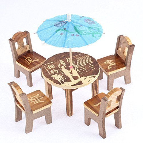 DealMux Wooden Home Office Decoration Display Mini Table Desk Umbrella Set
