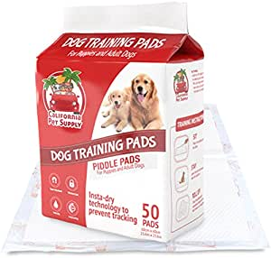 """Dog Training Pads- Maximum-Absorption Puppy Pads w/Insta-Dry Technology offer Low Price, & No Tracking. Save Money & Frustration with Leak-Resistant Pads from California Pet Supply - 23.6"""" x 23.6"""" (50-Pack)"""