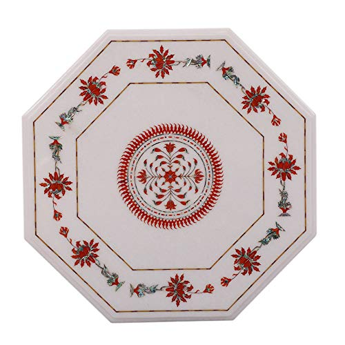 Artefactindia Carnelian Gemstone Inlaid Octagonal White Marble Coffee Table | Best for Home Furnishing, Decor, Patio, Garden, Gazebo | 25 Inches Octagonal - Octagonal Garden Gazebo