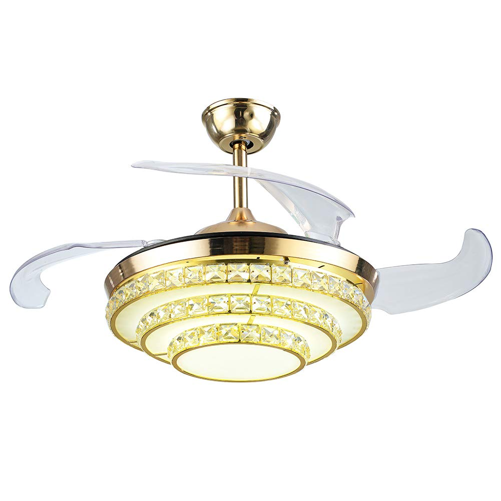 LUOLAX 42 Gold Crystal Invisible Ceiling Fan Light with Remote Control 3 Color Dimming LED Chandelier Fan Lamp for Dinning Room, Living Room Decor Style 2-Gold