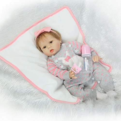 Pursue Baby Cute Soft Body Silicone Vinyl Real Life Baby Girl Doll with Hair Heather, 22 Inch Realistic Weighted and Poseable Newborn Baby Infant Doll with Pacifier