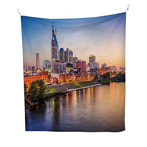 United Statesfunny tapestryCumberland River Nashville Tennessee Evening Architecture Travel Destination 60W x 80L inch Quote tapestryMulticolor (Nashville Furniture)