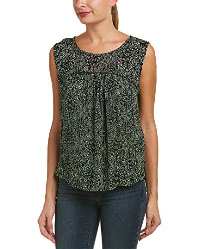 Velvet Yoke (VELVET BY GRAHAM & SPENCER Women's Batik Print Yoke Blouse, Pine, L)